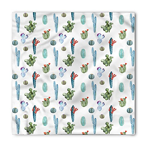 Ambesonne Unisex Bandana, Cactus Desert Hot Mexican South, Green Blue (Bandana Desert Digital)