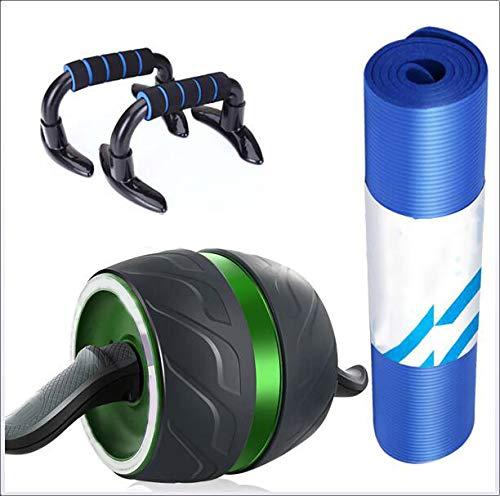 腹筋ローラー 腹部の足および腕の訓練のための押し棒のヨガのマットが付いているAbのローラー、3つの1つのローラーの自動反動の腹部筋肉車輪  Green B07PM2QQGK