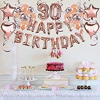 Howaf Decoración de cumpleaños 30 en Oro Rosa para Mujeres, 59 Piezas Feliz cumpleaños Decoración Globos Guirnalda Banner 30 Años Globos de Confeti y ...