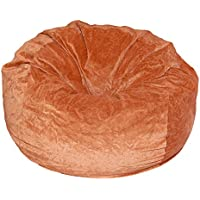 Ahh! Products Terracotta Orange Velvet Microsuede Washable Large Bean Bag Chair Plush