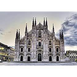 Early Morning On Il Duomo Near Piazza Del Duomo Milan Italy Poster Print (32 x 22)