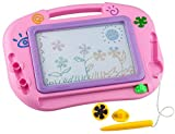 Buyus [Mini - Travel Size] Erasable Imaginarium Color Magnetic Drawing Board (Magna Doodle Sketch Tablet ) for Kids/ Toddlers/ Babies with 2 Stamps and 1 Pen (Pink)