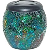 Alpine SLC106A-12 Solar Mosaic LED Jar Lanterns - Assorted44; Display of 12