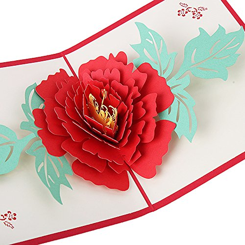 HUNGER Handmade 3D Pop Up Peony Flower Birthday Cards Creative Greeting Cards Papercraft (Q5423)