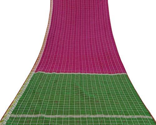 Vintage Saree Cotton Silk Handloom Fabric Dressmaking Magenta Deco Sari 5 Yard