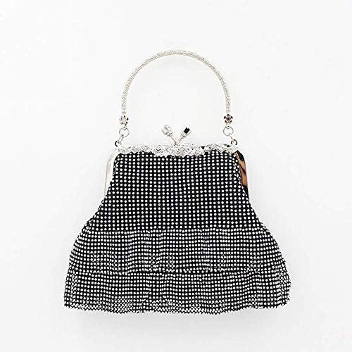 フルダイヤモンドビーズのトートバッグ、ミニトートバッグ、ファッションイブニングクラッチ、婦人用チェーンショルダーバッグ 色:黒 美しいファッション