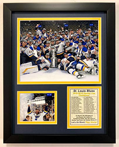 """Legends Never Die NHL St. Louis Blues Stanley Cup Champions Framed Double Matted Photos, Posed, 12"""" x 15"""""""