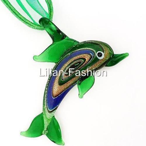 Green Dolphin Animal Lampwork Glass Murano Bead Pendant Ribbon Cord - Lampwork Glass Dolphin
