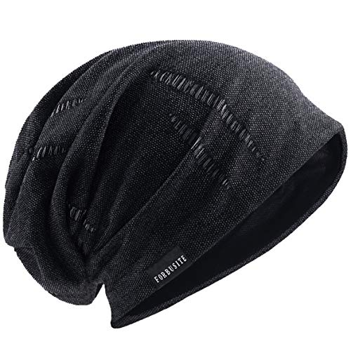 (Mens Summer Beanie Slouchy Thin Skull Cap Lightweight Baggy Knit Hat (Retro Grey))