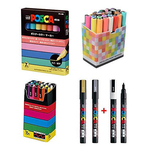 Uni Posca Paint Marker Pen Fine Point 24 Colours Bundle Set, PC-3M Standard Natural Gold Silver, Extra Black and White Total 26 Pens With Original Plastic Case