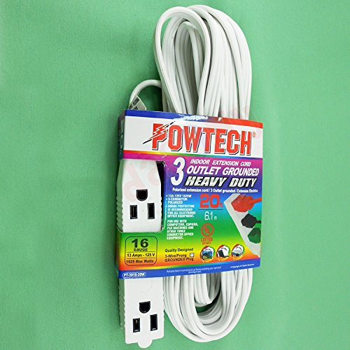 Powtech 20 Feet HEAVY DUTY 3Prong 3 Outlet Extension Cord Wh