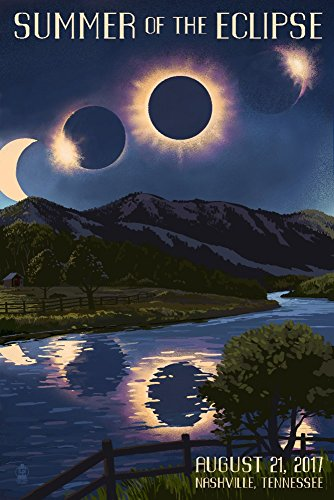 Nashville, Tennessee - Solar Eclipse 2017 - Summer of the Eclipse (16x24 Giclee Gallery Print, Wall Decor Travel Poster) by Lantern Press