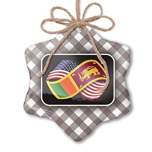 NEONBLOND Christmas Ornament Friendship Flags USA and Sri Lanka Grey White Black Plaid