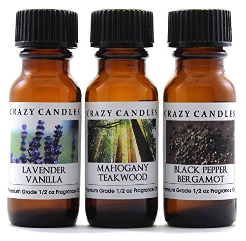 (Crazy Candles 3 Bottles Set, 1 Lavender Vanilla, 1 Mahogany Teakwood, 1 Black Pepper Bergamot 1/2 Fl Oz Each (15ml) Premium Grade Scented Fragrance Oils)