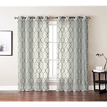 Single (1) Window Curtain Panels: Textured Sheer, Embroidered Moroccan  Trellis Design,