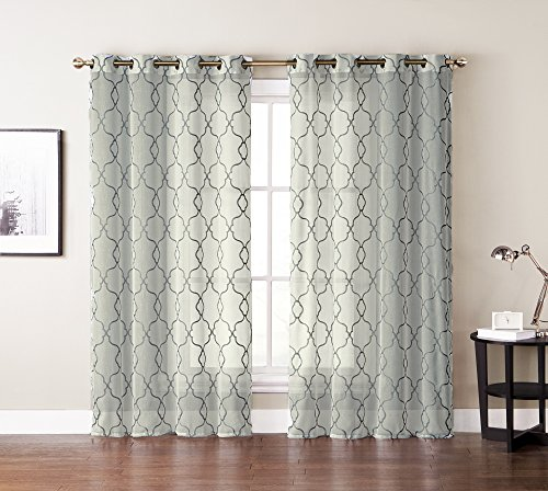 Single (1) Window Curtain Panels: Textured Sheer, Embroidered Moroccan Trellis Design, Silver Grommets, 55″ W x 84″ (Ivory/Beige) Review