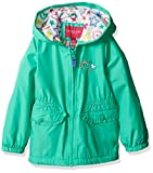 London Fog Little Girls' Fleece Lined Midweight Jacket with Rouched Waist, Mint Leaf, 6X