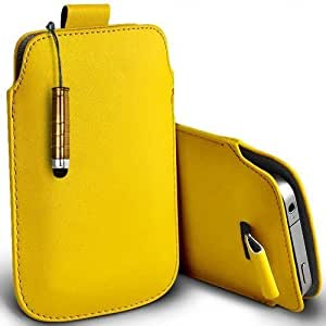 Shelfone Stylish Protective Leather Pull Tab Skin Case Cover For Samsung Galaxy S II LTE I9210 XL Includes Stylus Pen Yellow