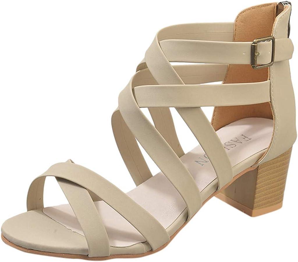 Zapatos con Tacon y Correa de Tobillo para Mujer,ZARLLE Verano ...