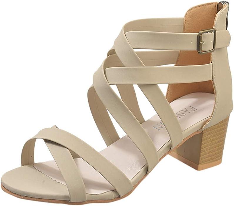 2bc6b454e39e JJLIKER Women Gladiator Criss Cross Open Toe High Heels Buckle Ankle  Strappy Cut Out Sandals Summer