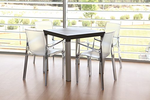 Tensai Iris Collection Narrow Square Back Durable Plastic  Chairs - Transparent - Set of 4 by Tensai (Image #1)'