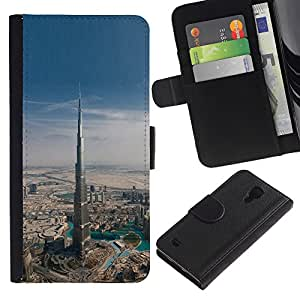 KingStore / Leather Etui en cuir / Samsung Galaxy S4 IV I9500 / Arquitectura Dubai Skyscraper
