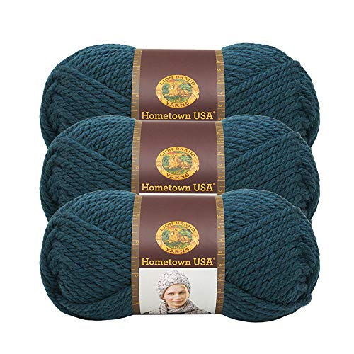 (3 Pack) Lion Brand Yarn 135-175E Hometown USA Yarn, Montpelier Peacock