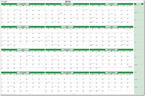 (Earth Green 2019 Dry-erase Horizontal Wall Calendar 38 in. X 58 in.)