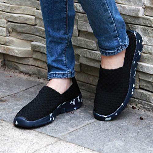 Femmes Rsistant Chaussure Loisirs Tiss Bleu Paresseux Profonde Peu Respirant Automne Luoluoluo Hiver Bouche Chaussures Slip Sport Plat dxZd47