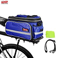 Arltb Bike Rear Bag (3 Colors) 20 - 35L Waterproof Bicycle Trunk Bag with Rain Cover Shoulder Strap Bike Pannier Tail Back Seat Bag Package Handbag Bike Accessories for Road Bikes Mountain