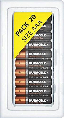 Price comparison product image Duracell MN2400 AAA Alkaline Duralock Batteries with Plastic Storage Battery Clamshell Blister Case - 20 Pack