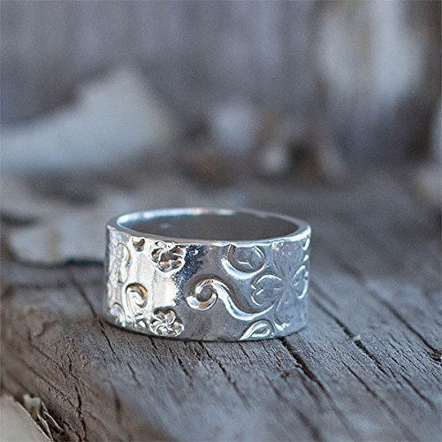 Sterling Wide Band Ring - Flower Wide Sterling Silver Ring ~ Wedding Band For Women Size 8