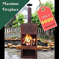 Outdoor Fireplace Free Standing Sturdy Metal Furness Chiminea Flue Cooking Grill & Wood Storage Maximus 70x41x229cm