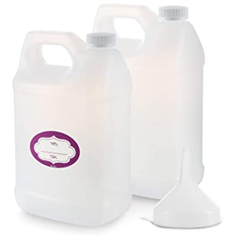 2 Pack - 1 Gallon Plastic Bottle - Large Empty F-Style 1 Gallon Jug – Gallon Container with Child Resistant Airtight Lids & Labels - Home & Commercial Use - Food Safe BPA Free - Made in USA