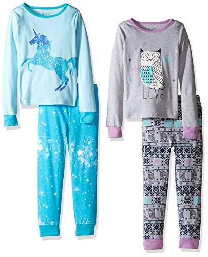 The Children's Place Big Girls' 2-Piece Cotton Pajamas (Pack of 2