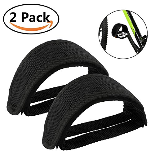 Bike Pedal Straps Adjustable Bicycle Feet Pedal Straps Tongshop Nylon Pedals Toe Clips Straps Tape for Fixed Gear Bike , Exercise Bike Pedal Straps for DIY Bike Enthusiasts (Black) -