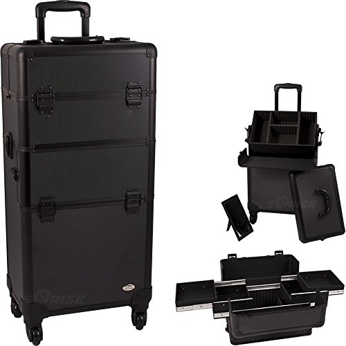 31.25 inch 360 Degree Rotating 4 Wheel Rolling Professional Black Dot Aluminum 4 Easy Sliding Extendable Trays Studio Cosmetic Beauty Makeup Artist Travel Supply Styling Organizer Tote Holder Storage Train Case Cart Trolley + Removable Case + Adjustable Dividers + Removable Mirror + Telescoping handle