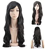 MelodySusie Black Long Curly Wig - 34'Curly Wig with Inclined Bangs Synthetic Cosplay Daily Party Wig for Women Natural as Real Hair (Black)