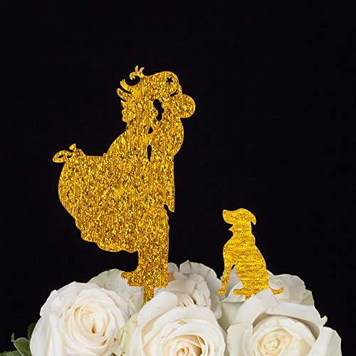 LOVENJOY with Gift Box Bride Groom and Dog Animal Silhouette Wedding Engagement Cake Topper Gold Glitter (4.1-inch)