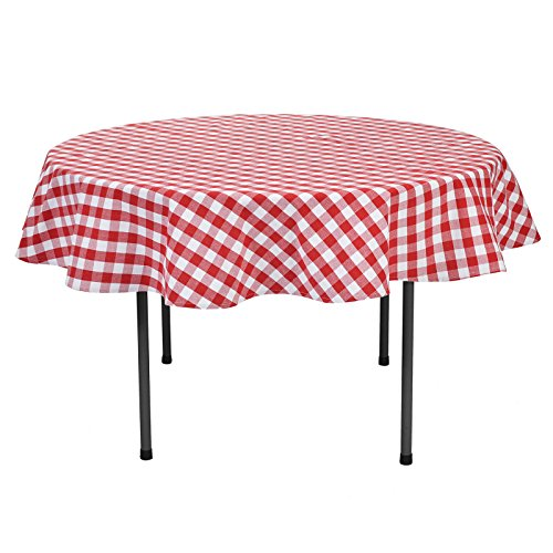 VEEYOO 70 inch (178 cm) Round 100% Cotton Plaid Tablecloth Gingham for Home Kitchen Outdoor Use, Red & White Buffalo Check