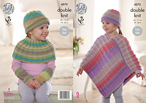 - King Cole Girls Double Knitting Pattern - Easy Knit Ribbed or Cable Knit Poncho & Accessories (4575)