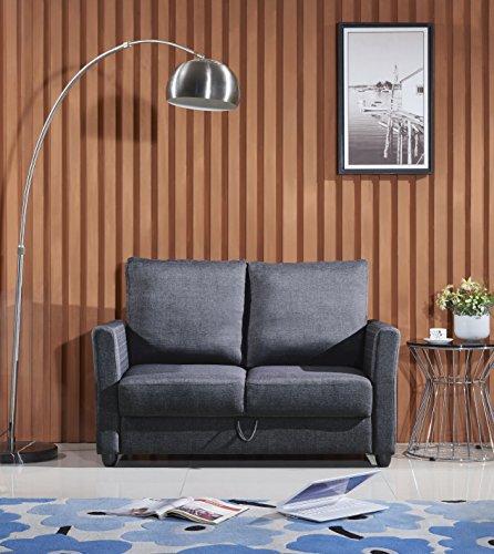 US Pride Furniture S5087 Contemporary Fabric Storage Loveseat, Dark Grey