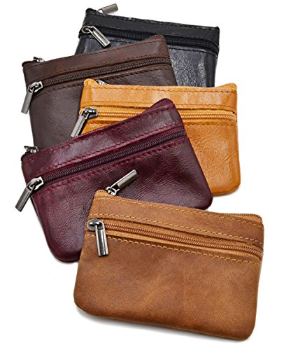Coin Zip Purse Leather - Women Genuine Leather Coin Pouch Zip Mini Purse Wallet Key Chain Double Zipper