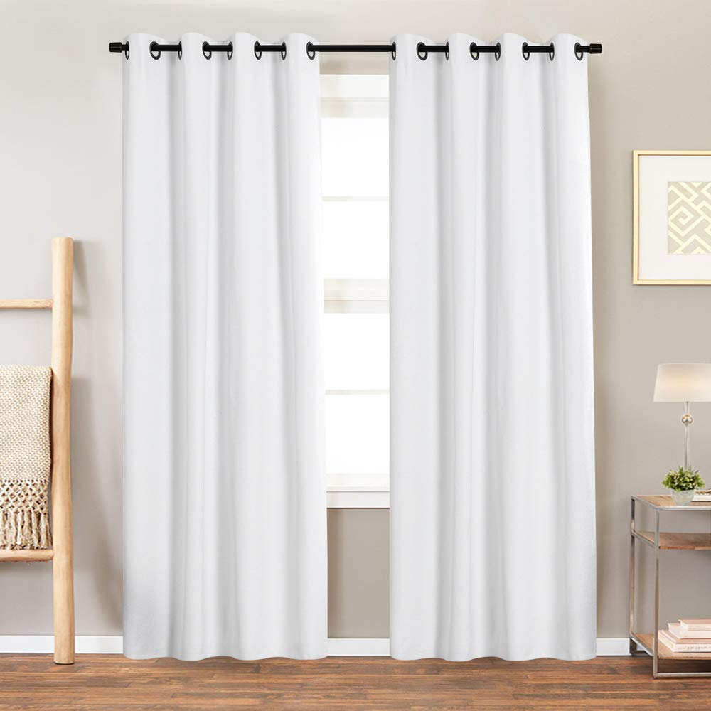Blackout Curtain White for Bedroom 84 inch Window Treatment Panels Living Room Drapes Grommet Top Sold Individually One Panel