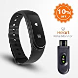 Fitness tracker ID101hr,Full touch-screen USB charging Upgrade section Music control Heart rate monitor Waterproof Bluetooth 4.0 Smart Bracelet For IOS and Android (FOUR CHOICES)