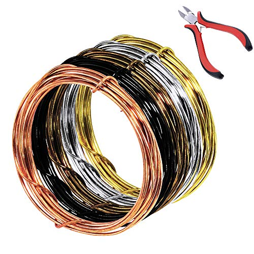 Supla 5 Rolls 5 Colors 11 Yard 18 Gauge Uncoated Copper Wire Tarnish Resistant Pure Dead Soft Copper Wire Jewelry Beading Wire and 1 Pcs Plier for Crafts Beading Jewelry Making Floral Arrangment ()