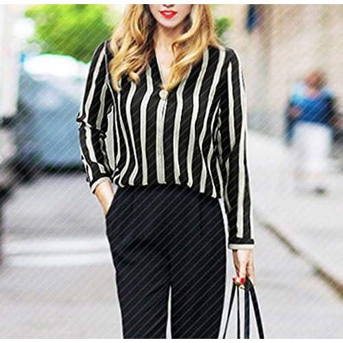 12fe099e5d643 KaloryWee 2018 Mode Übergröße Damen Frauen Striped Office Lady Langarm  V-Ausschnitt Arbeitsbluse Shirt Top