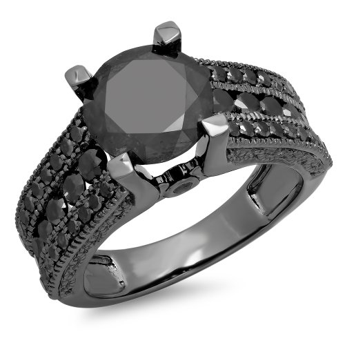 3.95 Carat (ctw) Black Rhodium Plated 10K White Gold Black Diamond Bridal Engagement Ring (Size 10)