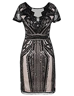 Kayamiya Women's 1920 Short Prom Dress V Neck Sequins Art Deco Cocktail Gatsby Dress