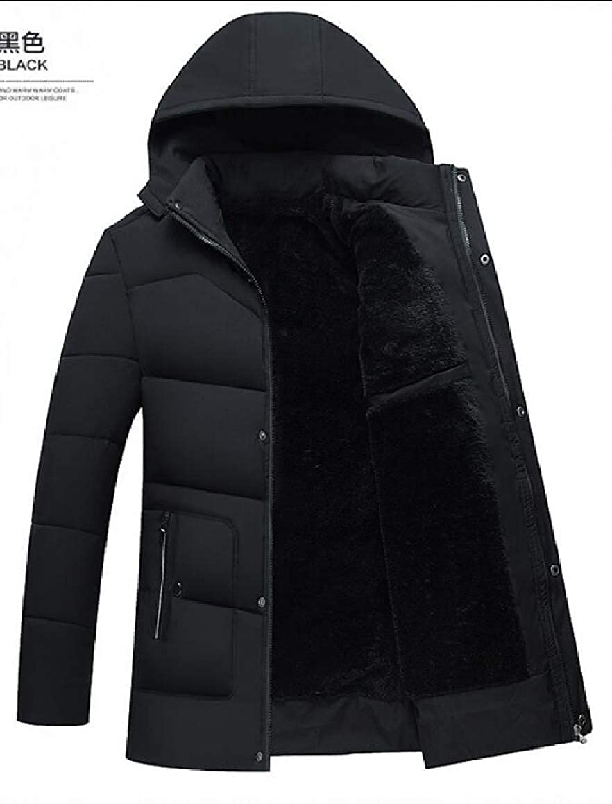 omniscient Men Winter Thickened Zip Front Hooded Down Quilted Coat Jacket Overcoat